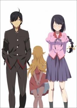 Personagens: Koyomi Araragi e Tsubasa Hanekawa (a frente), Oshino Shinobu (ao fundo).