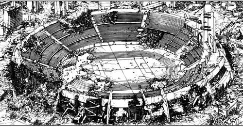Imagem do mangá onde mostra o estádio aos escombros.