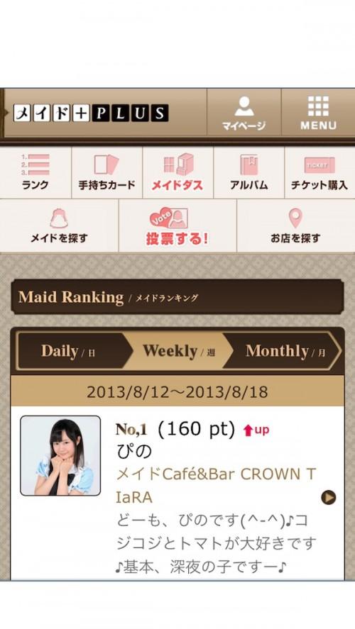 Você também pode conferir as votações diárias, semanais e mensais das garotas do Maid Café!