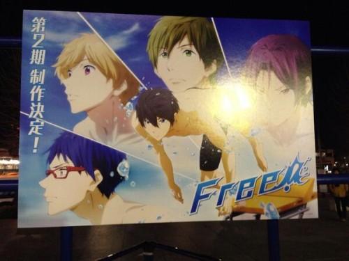 Poster confirmando a produção da segunda temporada de Free! (imagem: SGCafe)