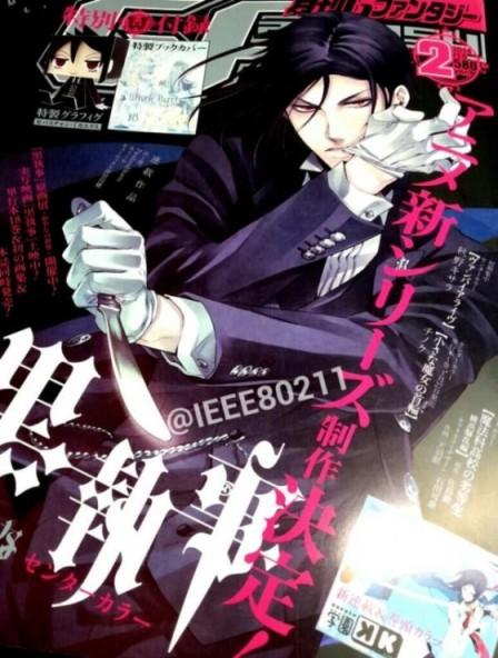 Capa da Square Enix's Monthly G Fantasy anunciando a volta do anime Kuroshitsuji. (Imagem: Divulgação)
