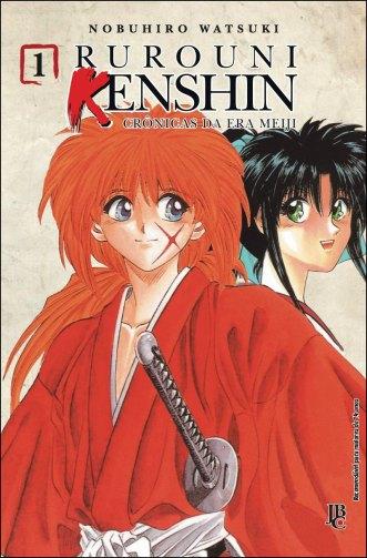 Capa do mangá nº 1 da série Rurouni Kenshin, publicado pela JBC no Brasil. (imagem: JBC)